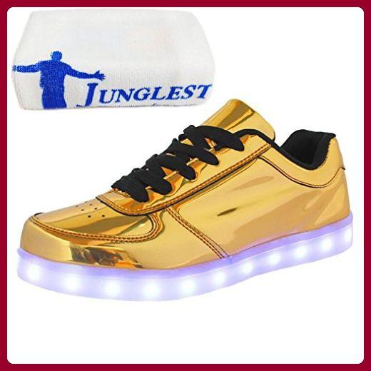 [Present:kleines Handtuch]Gold EU 38, weise LED Sneaker Sportschuhe Turnschuhe J