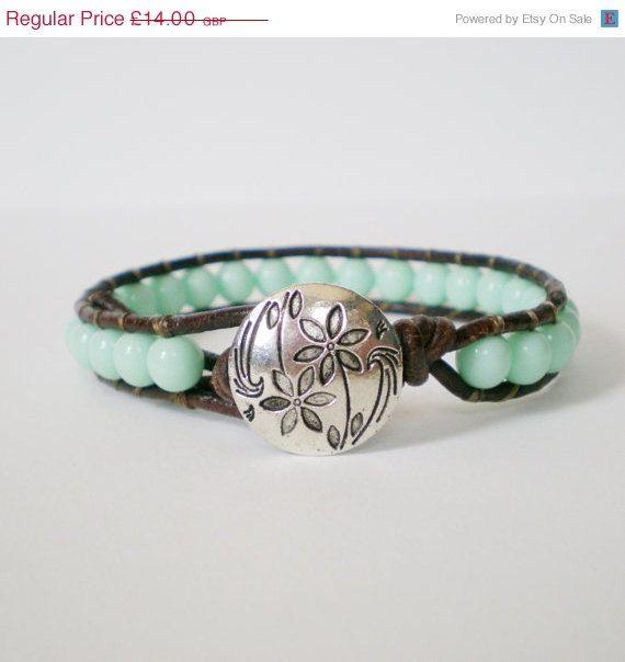 SALE beaded wrap bracelet mint green leather wrap by jcudesigns, £10.50