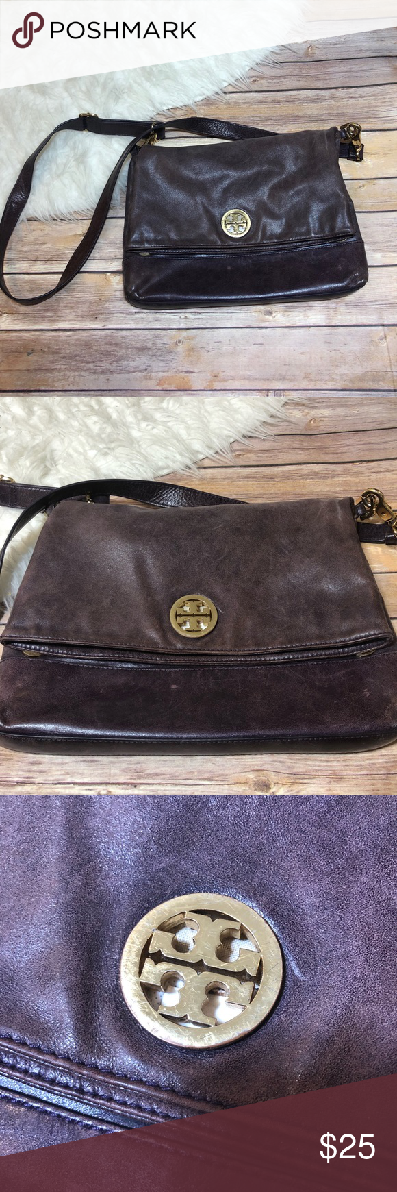 50b71241c502 Tory Burch Purple crossbody flap over bag Pre-owned I m ok condition bag.  100% Authentic Tory Burch. Color is a deep purple with gold colored  hardware.