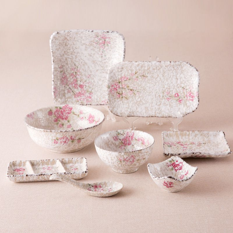 Japan Zakka Style Ceramic Dinnerware Sets Small Pink Floral Printed Under Glazed Chinese Porcelain Dinner Set 8 Pieces Tableware \u2022 SimpleBy & Japan Zakka Style Ceramic Dinnerware Sets Small Pink Floral Printed ...