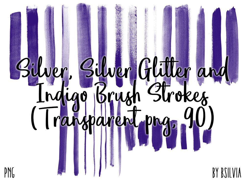 Silver Silver Glitter And Indigo Brush Strokes 90 Clip Art Etsy Clip Art Brush Stroke Art Brush Strokes