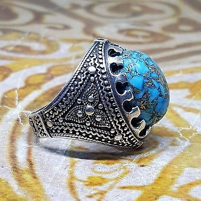 Handmade 925 sterling silver men ring natural blue turquoise feroza stone mens  The Mandarin