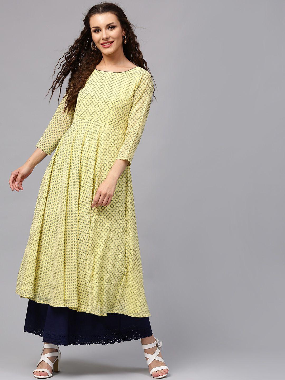 46112f85c1b Libas Women Yellow   Black Printed Anarkali Kurta