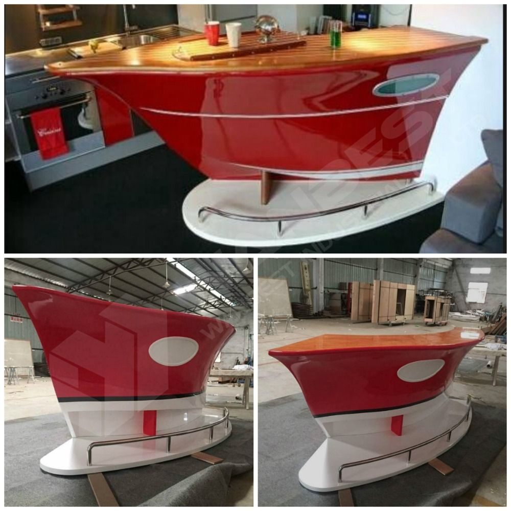 Popular Boat Shape Red Small Home Bar Counter For Sale Modern Home Bar Bar Furniture Home Bar Counter