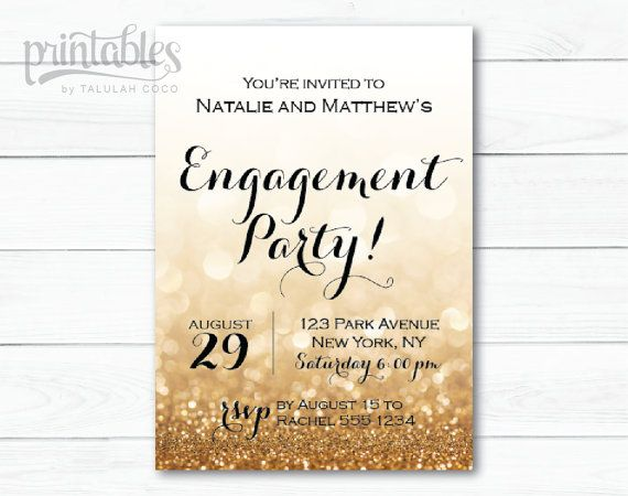 Engagement Party Invitation Printable, Black and Gold Engagement ...
