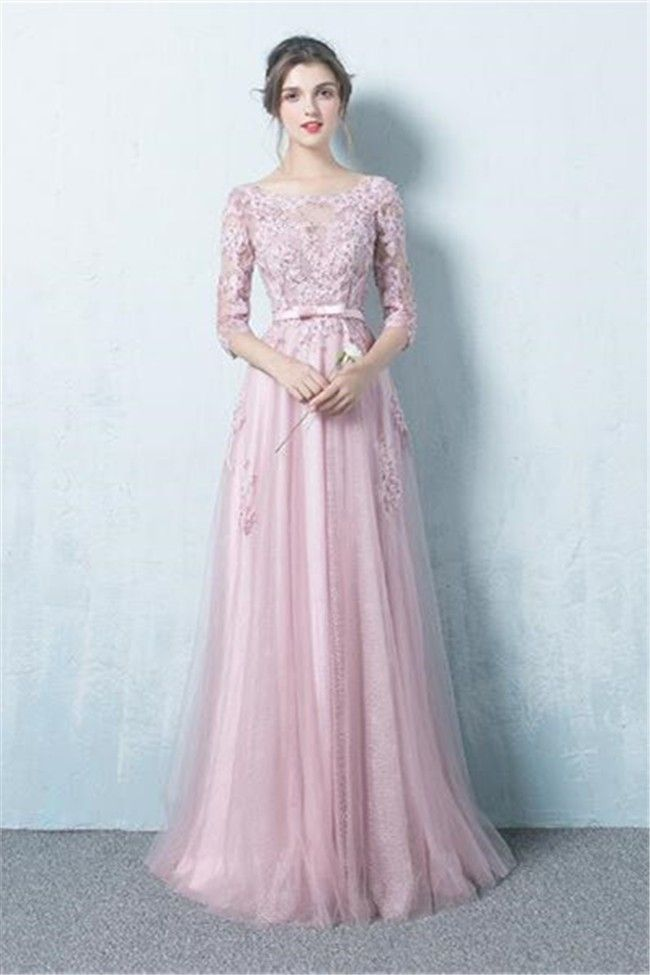 845d609deb0fa A Line Boat Neck Long Dusty Pink Tulle Lace Prom Dress With Sleeves ...