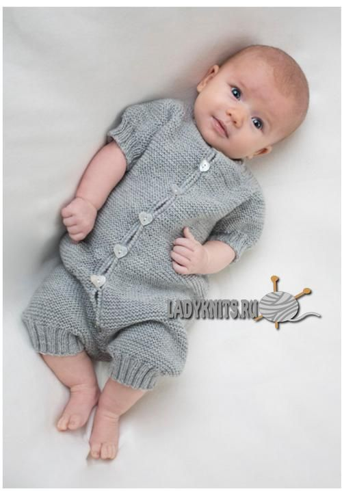 комбинезон реглан спицами для малыша от 3 месяцев до 1 года