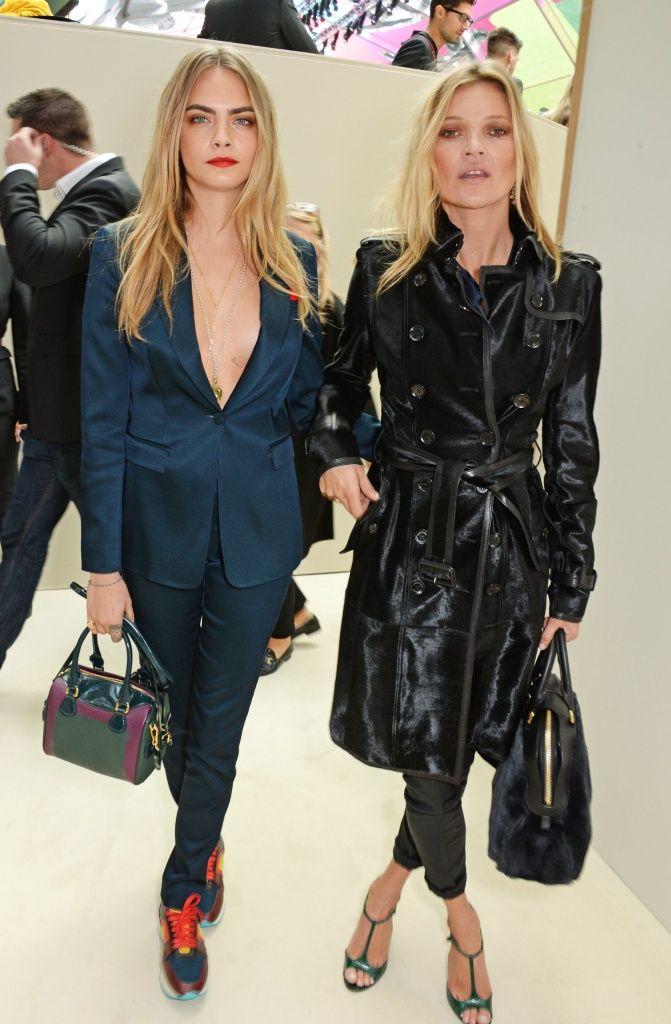 Frowin´bei Burberry in London: Kate Moss und Cara Delevingne haben die Modekrone auf - Journelles