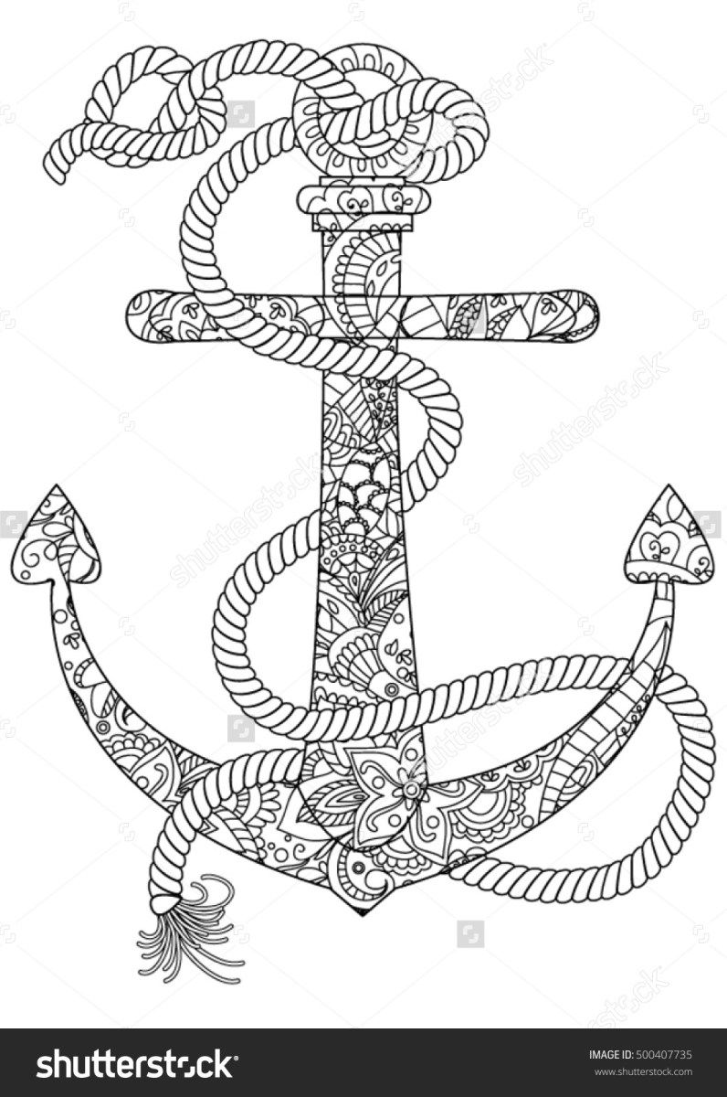 Free Coloring Page Of An Anchor Coloringworld Net Geometric Coloring Pages Coloring Pages Free Coloring Pages