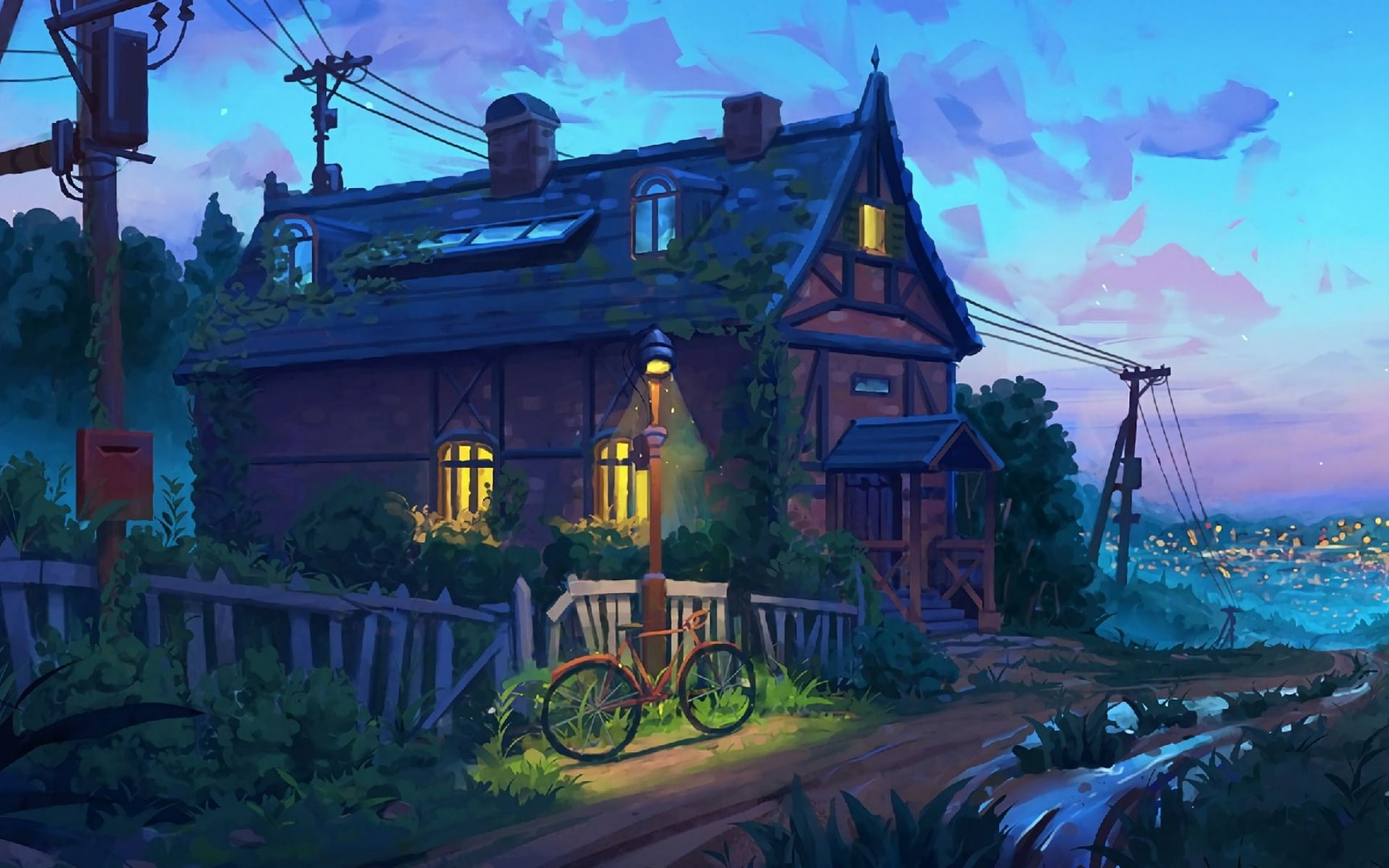 1920x1200px Free Download Hd Wallpaper House Painting Bycicle Bike Concept Art Cottage Digital Pai Digital Painting Art Wallpaper Painting Wallpaper