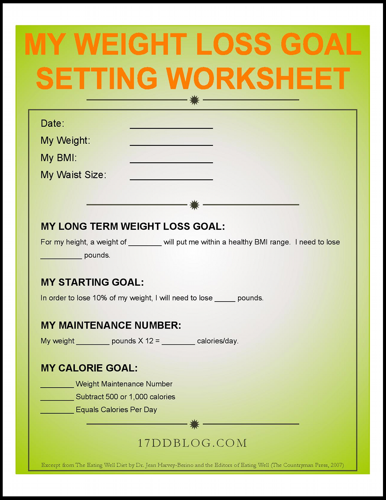 Weight Loss Worksheets Karlapa Ponderresearch Co