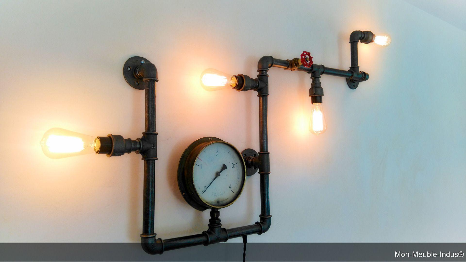 luminaire industriel vintage tube acier luminaires par. Black Bedroom Furniture Sets. Home Design Ideas