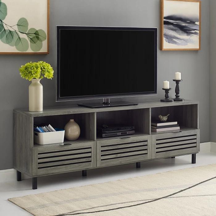 Saracina Home Jackson Slat Door Media Storage Console Tv Stand