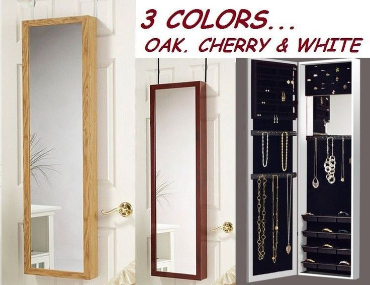 Wall Mirror Jewelry Storage details about mirror jewelry armoire over door hanger wall mount