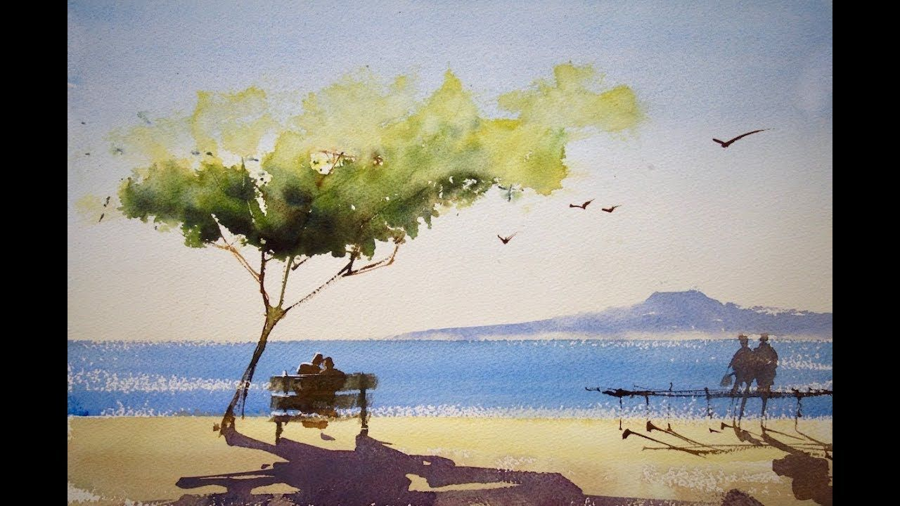Bench On The Beach Youtube Watercolor Landscape Paintings