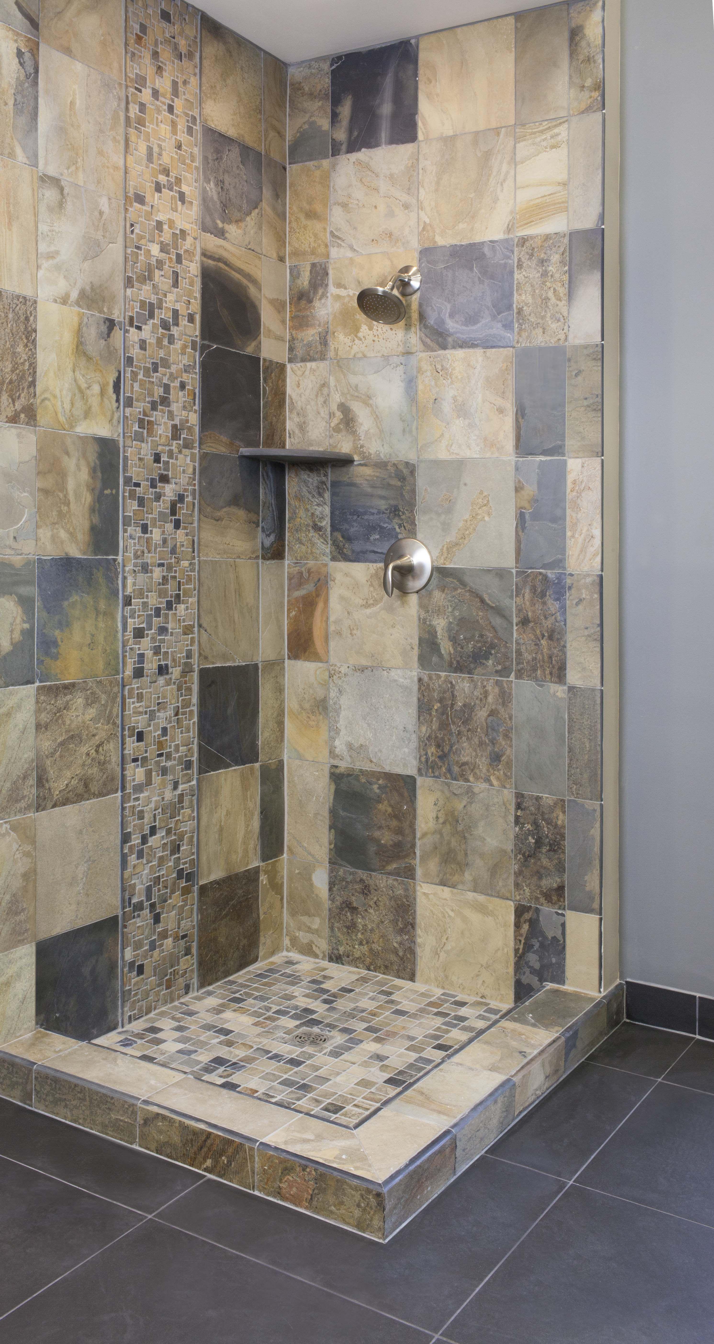 Rustic modern slate shower thetileshop Bathroom