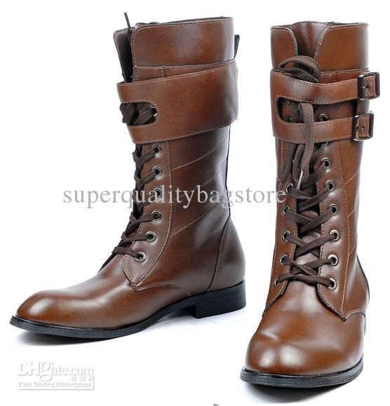 Mens Shoes Knee-High Boots,Cool Britpop Detachable Buckle Straps ...