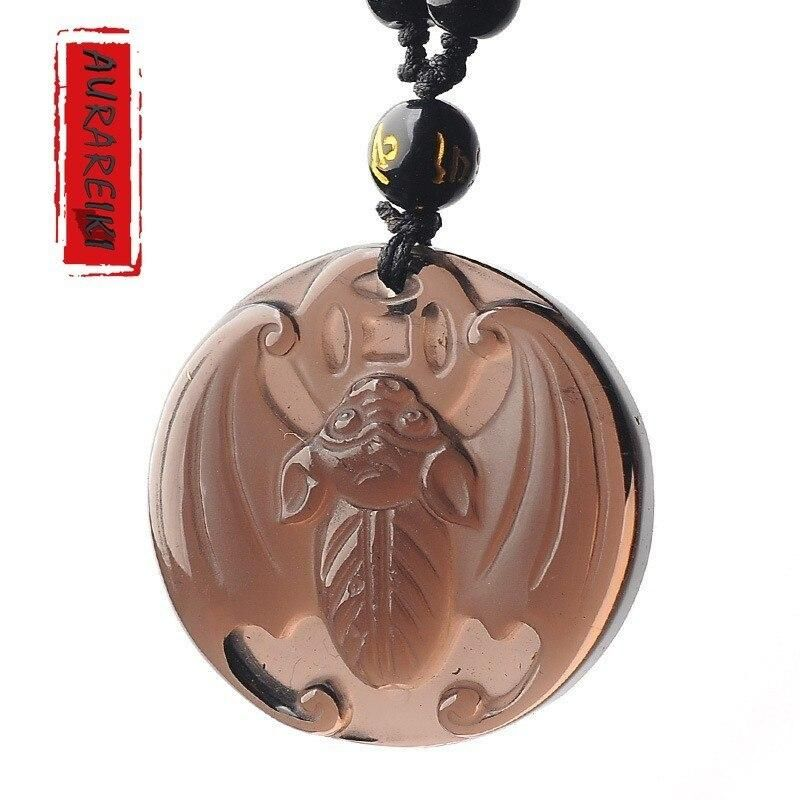 Natural gold obsidian pendant bat Lucky Charms