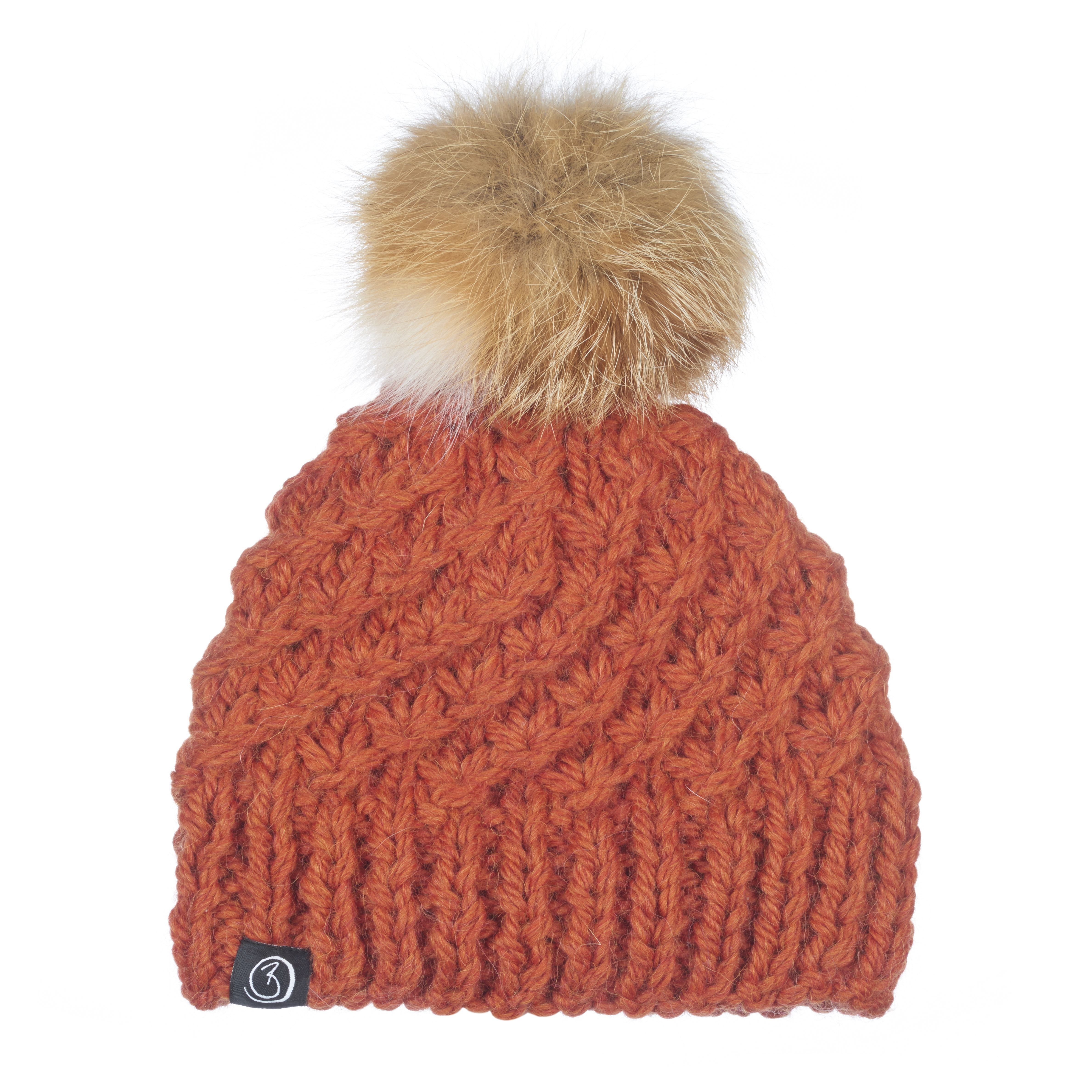 Burnt Orange super chunky hand knitted hat with a rabbit fur pom pom Rabbit  Fur 8399f29d0bb