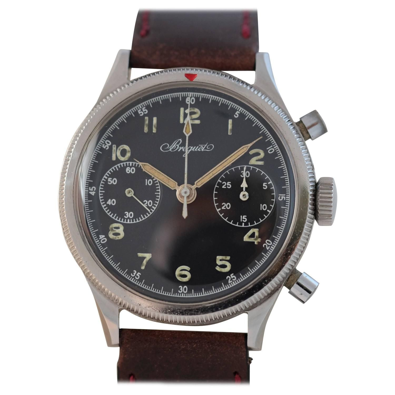 Breguet Stainless Steel Type 20 Chronograph French Military Wristwatch 1954 1stdibs Com Stainless Steel Types Wrist Watch Vintage Watches
