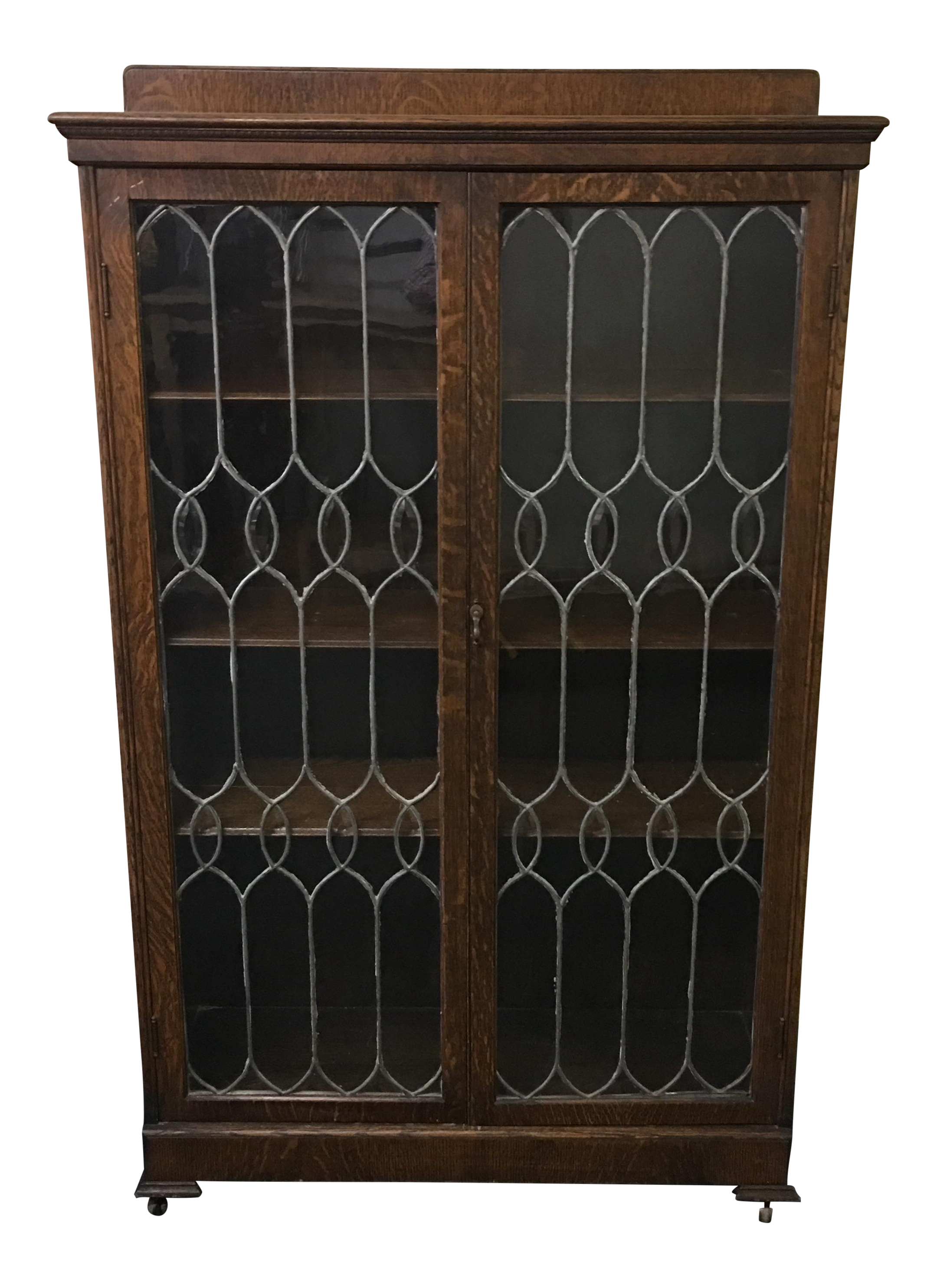 Vintage Leaded Glass Curio Cabinet