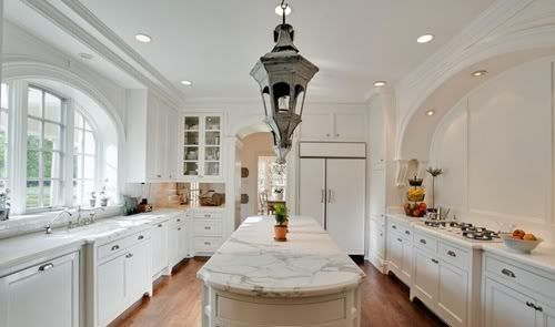 Beautiful White Kitchen Love The Arched Window And Matching Awesome Long Narrow Kitchen Island Inspiration Design