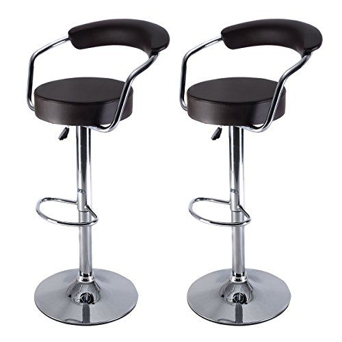 Costway Diner Adjustable Counter Swivel Pub Style Leather Bar Stools  BarstoolsSet of 2 Brown -- Want additional info? Click on the image.