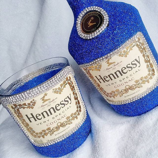 Decorated Hennessy Bottle Custom Glitter Hennessy Bottle & Cup Setcheck Out