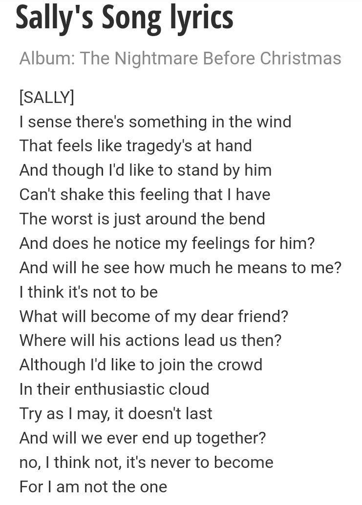 Sally's song lyrics   Lullabies   Pinterest   Songs