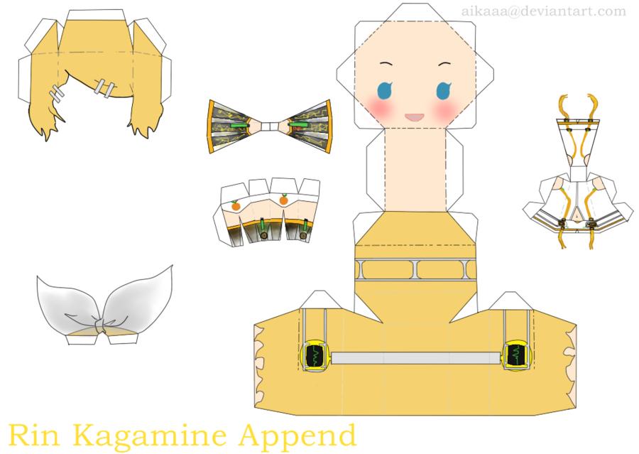 Rin Kagamine Append Papercraft Vocaloid Pinterest