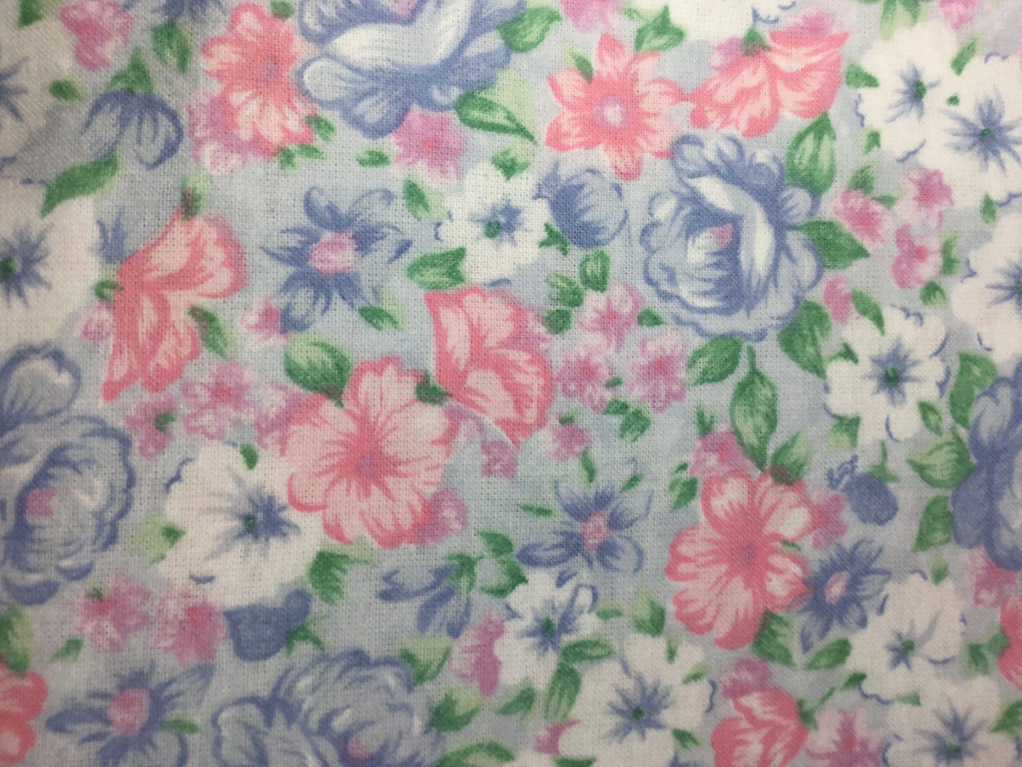 Cotton Flannel Fabric Watercolor Floral