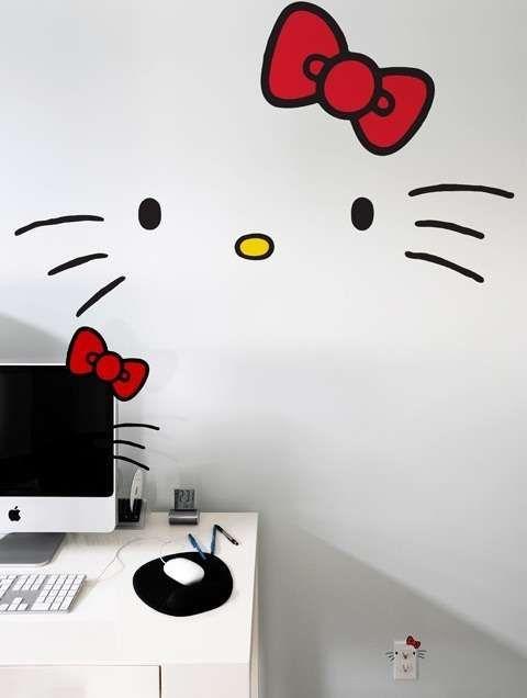 Vinilos Hello Kitty Pared.Vinilos Pared Creativos 28 Habitaciones De Hello Kitty