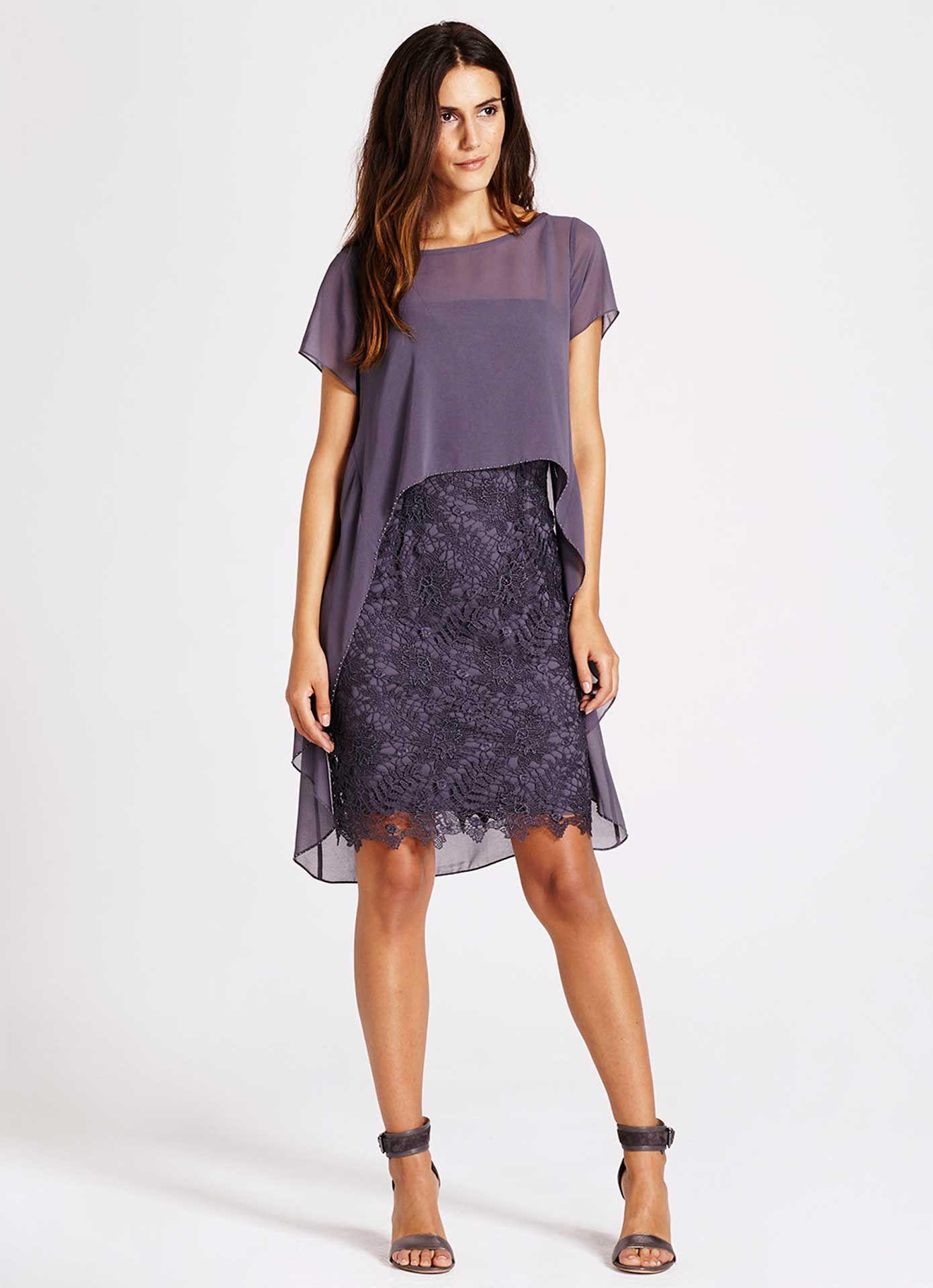 Smoke Cobweb Lace Cape Dress