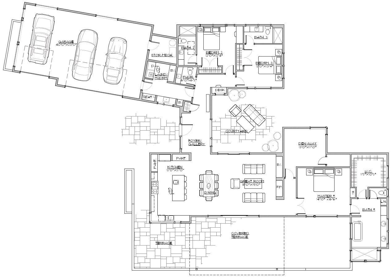 One Story Contemporary House Plan Modern Style House Plans House Plans Contemporary House Plans