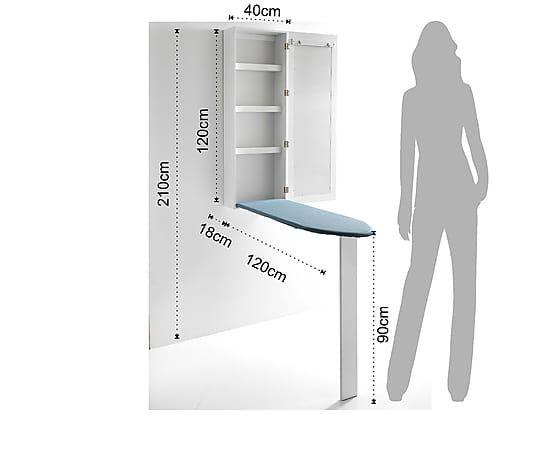 Espejo Mueble Planchador Practik Blanco 120x18 Cm