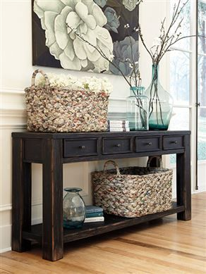 Sofa table for the entry way or behind the couch TheFurnitureMart  Furnishings  Black sofa