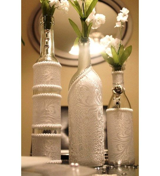 set of 3 white decorated wine bottle centerpiece by dazzlinggrace rh pinterest com