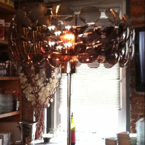 Lamp made out of aviator sunglasses. At Bar Veloce, NYC.