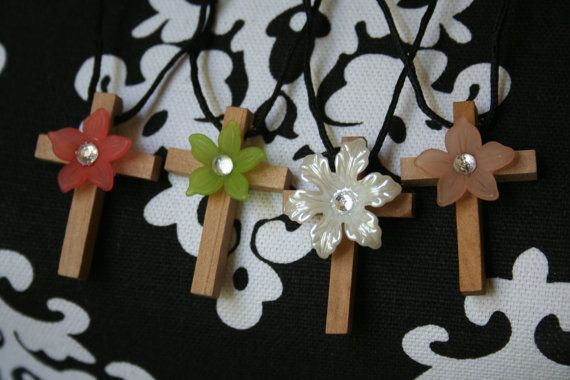 Handmade Old Wooden Cross Necklace with Beautiful by DefaultToLove,  ONLY $5.00!! Spreading God's Love!