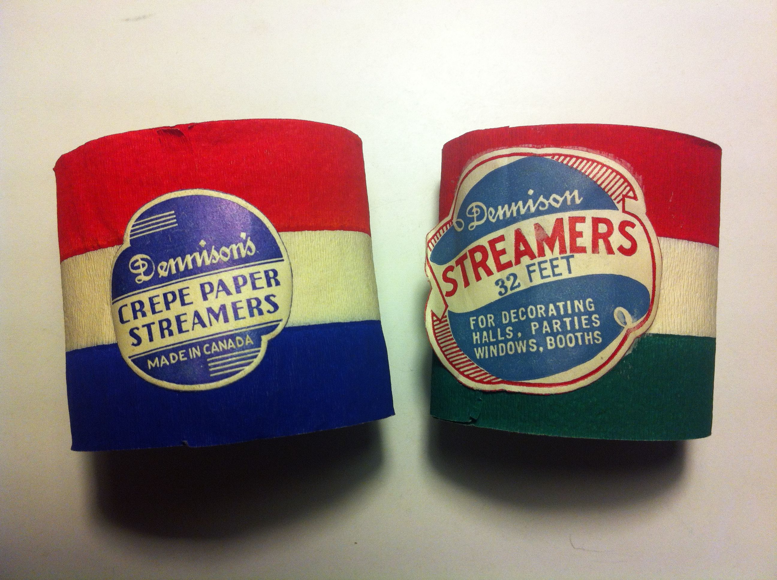 Vintage crepe paper streamers, made in Canada by Dennison.