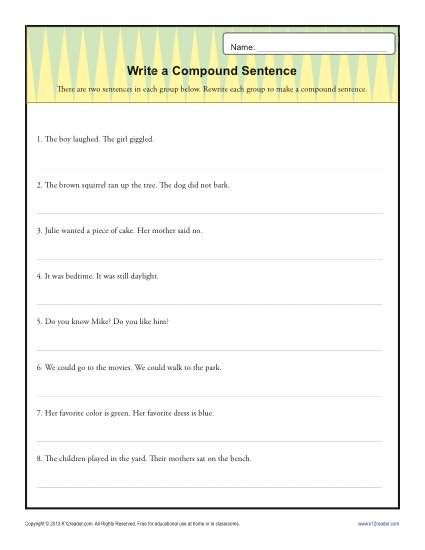 Simple and compound sentences worksheet 8th grade