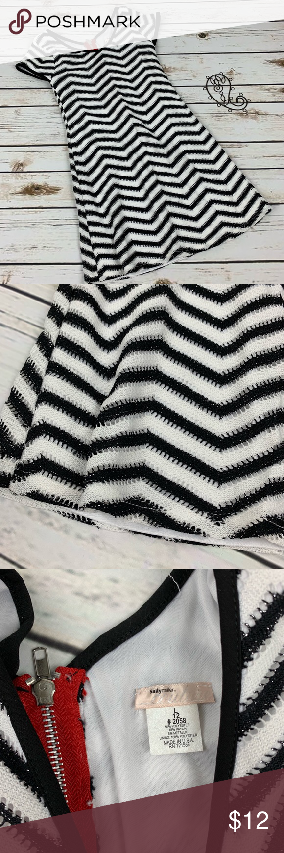 Sally Miller Couture Dress Size L 12 Chevron Lined Sally miller Couture black and white chevron dress with zipper on the back with red accent. Size 12 large EUC Sally Miller Dresses Casual #sallymiller Sally Miller Couture Dress Size L 12 Chevron Lined Sally miller Couture black and white chevron dress with zipper on the back with red accent. Size 12 large EUC Sally Miller Dresses Casual #sallymiller