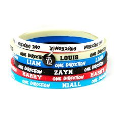 One Direction Thin Rubber Bracelets Set Of 6