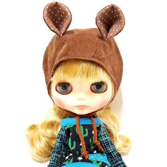 BONNET HAT Brown Bear helmet for Blythe Doll by LockAndSew on Etsy