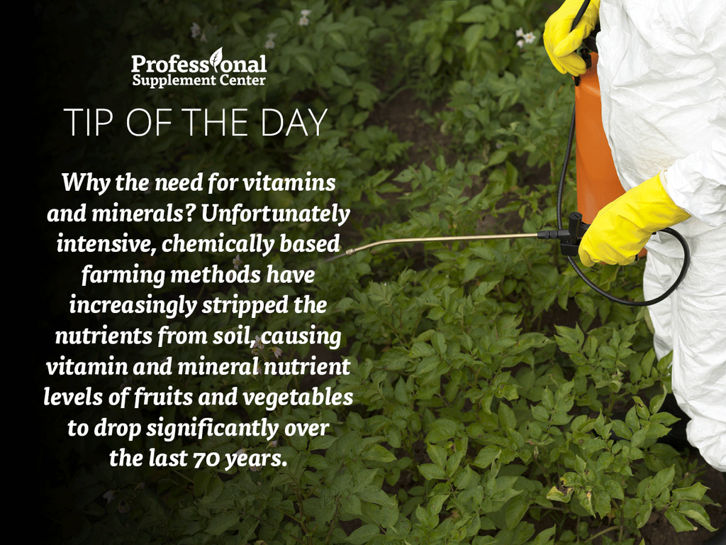 Health Tip of the Day-Changes in farming has led to a decrease in nutrients in the soil.