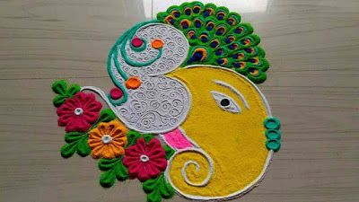 Easy and Simple Ganesh Rangoli images
