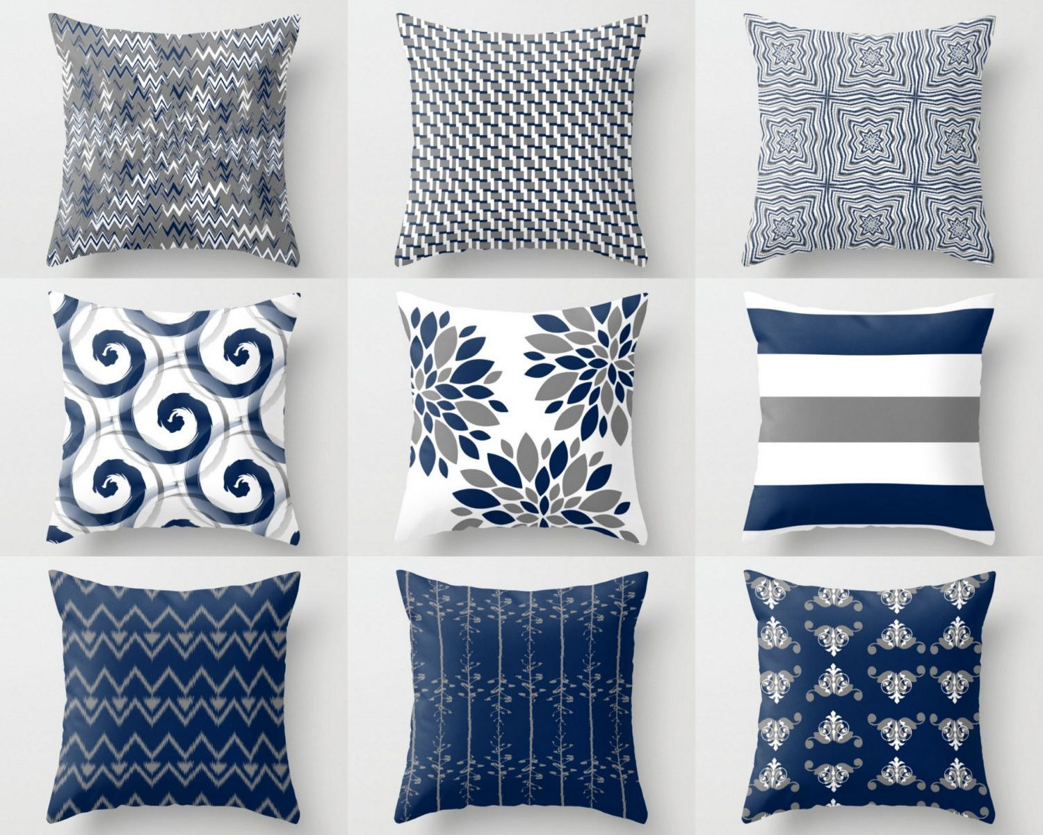 Throw Pillow Cover Pillow Covers Navy White Grey Accent Pillows