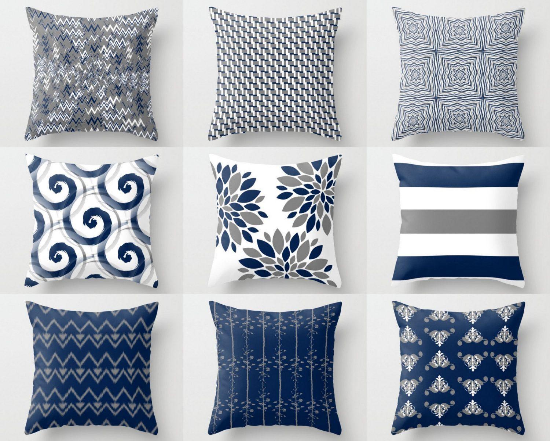 sofa cushion covers ideas ciri bed asli inoac throw pillow cover navy white grey accent