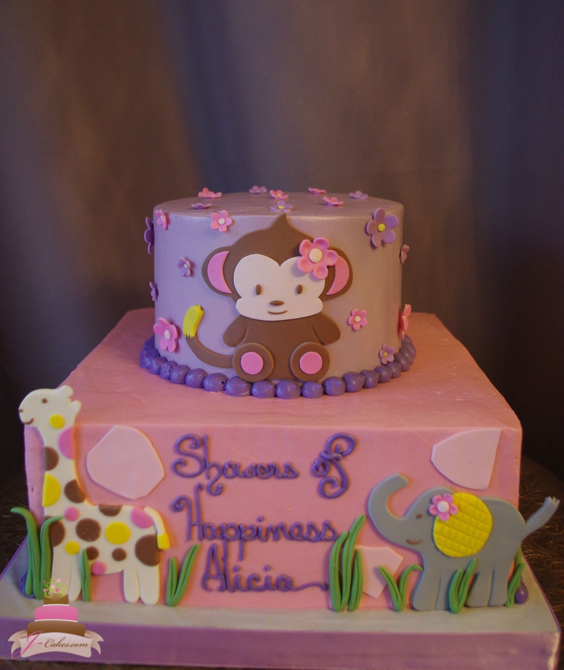 Cake · (228) Jungle Theme Baby Girl Shower Cake