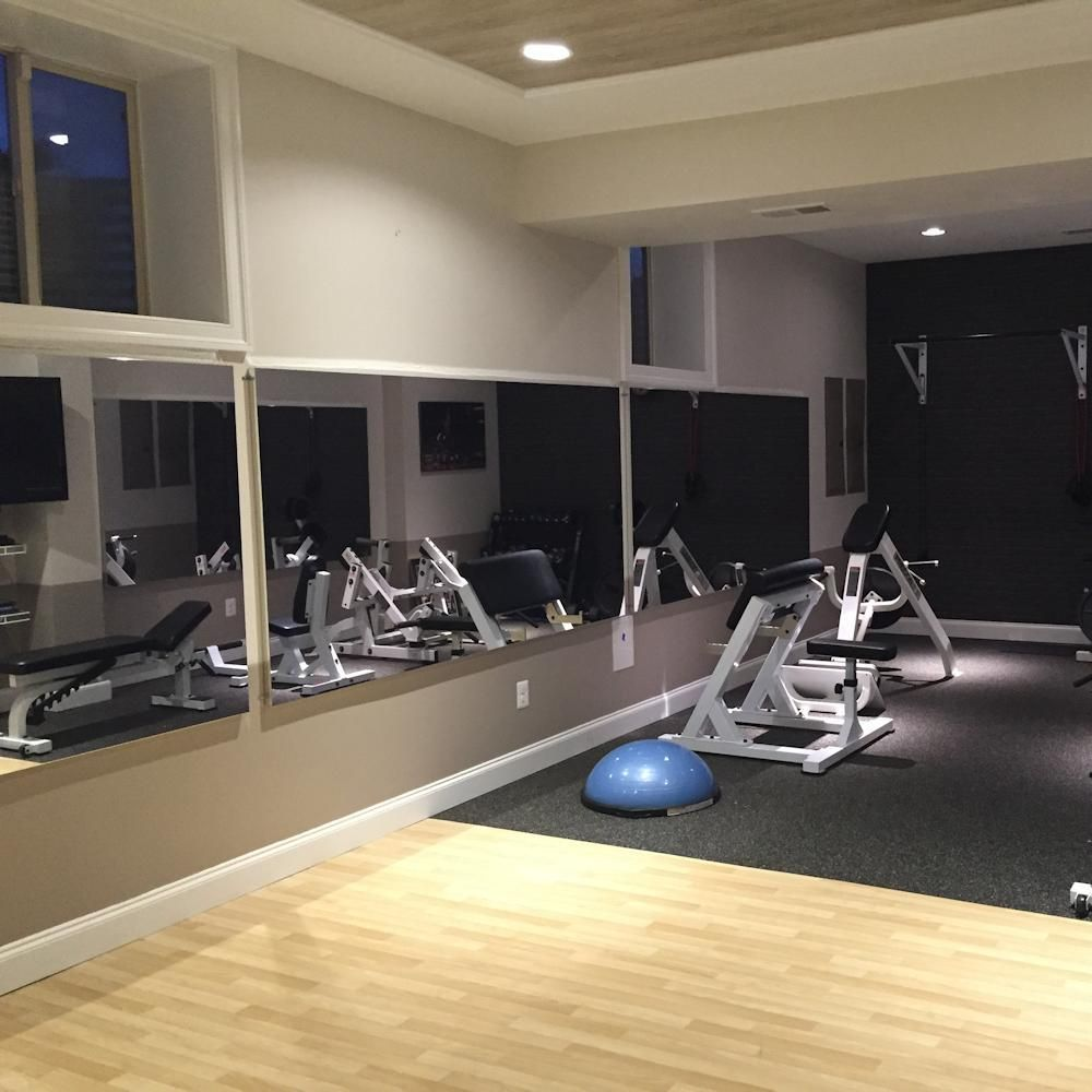 Glassless wall mounted gym mirrors in basement projects